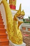 Золотая скульптура лестницы Naga в виске Lao Стоковые Изображения RF