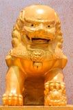 Золотая скульптура льва Стоковые Фотографии RF
