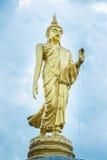 Золотая статуя Будды стоя в парке Таиланд Стоковое фото RF