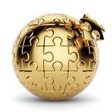 Золотая сферически головоломка при отключенное one piece Стоковая Фотография