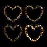 Золотая флористическая рамка сердца Стоковые Фото