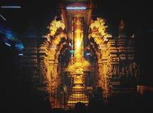Золотая штанга в индусском виске Meenakshi Стоковое Изображение RF