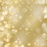 Золотая glinstering предпосылка с звездами и светами Стоковая Фотография RF