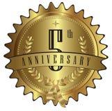 5 золота годовщины уплотнения лет значка ярлыка Стоковое Изображение