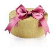 Золотистая коробка подарка круга Стоковое Изображение RF