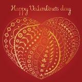Золотистое орнаментальное сердце Стоковое Изображение RF