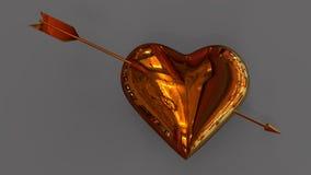 золотистое сердце иллюстрация штока