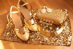 золотисто Одежды и аксессуары женщин Обувь Роскошная мода Стоковые Изображения