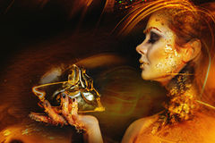 золотисто составьте женщину стоковые изображения