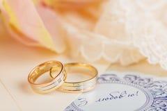 золотистые кольца wedding Стоковая Фотография RF