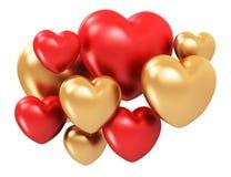 золотистые сердца красные Стоковая Фотография