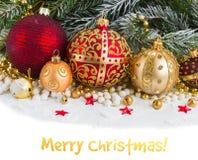Золотистые украшения рождества Стоковая Фотография RF