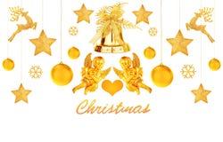 Золотистые украшения рождества Стоковые Фото