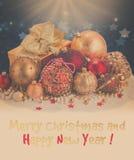 Золотистые украшения рождества Стоковые Изображения