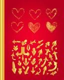золотистые установленные сердца Стоковая Фотография RF