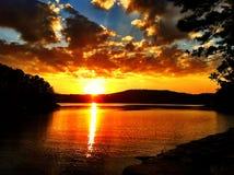 золотистый заход солнца Стоковое Изображение RF