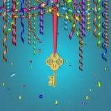 золотистый ключ Стоковые Изображения RF