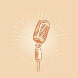 золотистый микрофон ретро Стоковое Изображение