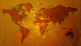 золотистый мир карты Стоковые Фото