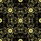 Золотистый орнамент сбора винограда вектор флористической картины безшовный Стоковое Изображение