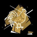 золотистый петух Символ 2017 Стиль полигона также вектор иллюстрации притяжки corel Стоковое Фото