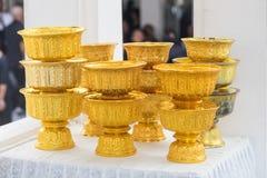 золотистый поднос постамента Стоковые Фото