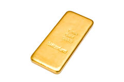 золотистый слиток изолировано Стоковые Фотографии RF