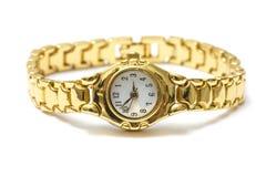 Золотистый wristwatch Стоковые Изображения