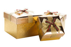 3 золотистых коробки Стоковое Изображение