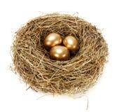 3 золотистых яичка в гнезде сена Стоковые Фото