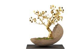 Золотое дерево в яичке сформировало цветочный горшок иллюстрация 3d Стоковые Фото