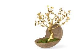 Золотое дерево в яичке сформировало цветочный горшок иллюстрация 3d Стоковое Фото