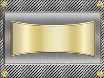 Золотое знамя на металлическом Стоковое Изображение RF