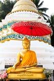 Золотое изображение Будды перед пагодой на приятеле Wat Sri стоковая фотография rf