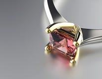 Золотое обручальное кольцо с диамантом или moissanite Backg ювелирных изделий Стоковое фото RF