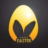 Золотое пасхальное яйцо с ушами зайчика Стоковое Фото