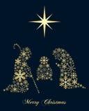 Золотое рождество рождества снежинок иллюстрация вектора
