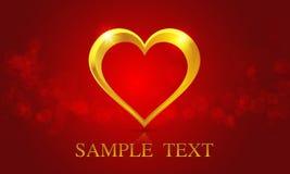 Золотое сердце на красной предпосылке Стоковое Фото