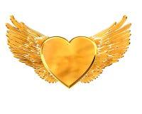 Золотое сердце с крылами на белой предпосылке Стоковая Фотография