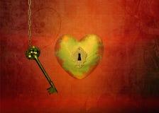 Золотое сердце с ключом Стоковое фото RF