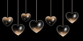 Золотое сердце с сияющим светом Стоковое Изображение RF
