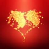 Золотое сердце яркого блеска, символ влюбленности Стоковая Фотография