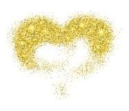 Золотое сердце яркого блеска Стоковое Изображение RF