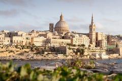 Золотое солнце на Валлетте, столице Мальты Стоковое Фото