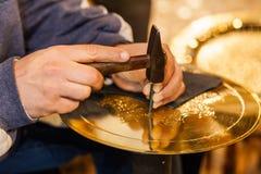 Золотое украшение плиты Стоковое Изображение RF