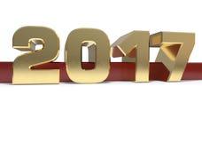 Золотое число 2017 две тысячи и 17 на красной и белой предпосылке иллюстрация 3d Стоковые Изображения RF