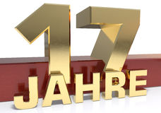 Золотое число 17 и слово года Переведенный от Стоковые Фото