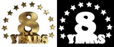 Золотое число 8 и слово года, украшенное с звездами иллюстрация 3d Стоковые Изображения RF