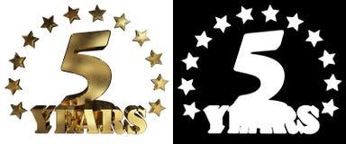 Золотое число 5 и слово года, украшенное с звездами иллюстрация 3d Стоковые Изображения
