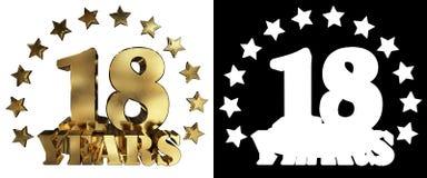 Золотое число 18 и слово года, украшенное с звездами иллюстрация 3d Стоковое Изображение RF